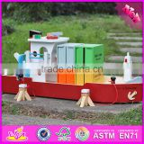 2016 new design funny children wooden toy container ship W04F006