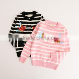 2-8 years Wholesale 2017 New Autumn Cotton Knitting Embroidery Stripe Bird Kids Girls Coats