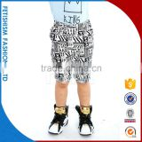 Popular hot sale custom Black and white national wind printed board kids denim boys cargo shorts for boys