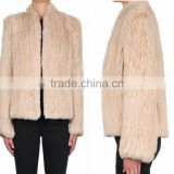 YR1017 New Style Lady Small Collar Fur Jacket Real Rabbit Fur Hand knit Top Quality Fur Jacket