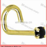 Solid Yellow Gold 2mm Black Cubic Zirconia Nose Screw Ring piercing jewelry rings
