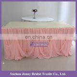 TC106D 4.8m long 76cm wholesale peach chiffon cinderella wedding table skirting with rhinestone buckle decoration