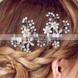 Silver Crystal Rhinestone Hair Sticks Clip Pearl Flower Wedding Hair Pins For lady Bridal Bridesmaid Hair