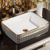Hotel bathroom modern european middle east market no hole luxury countertop ceramic deep golden square basin for washing