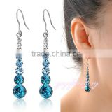 New 2016 design jewelry gold plated blue stone dangle earrings