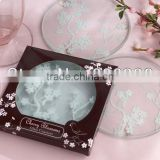 New arrival round blossom plum Glass Coaster party giveaways to your guest 2013 wedding favors
