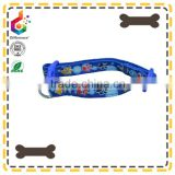 foot print blue double deck cloth pet collar dog collar