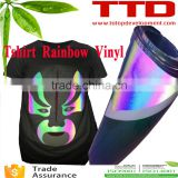 Textile fabric PU heat transfer vinyl for clothing ,rainbow reflective t-shirt vinyl flex film