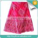 New designs austrian lace / fushia pink yellow latest beaded french lace / embroidery tulle lace fabric for party