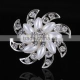New Arrived Flower Rhinestone Brooch Pin,Pearl Bridal Hair Brooch For Wedding