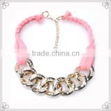 Handmade Pink Ribbon Choker Necklaces With Metal Chains