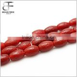 Wholesales Price Natural Red Frosted Old Agate stone Gemstone Barrel Drum shaped beads 8*12mm