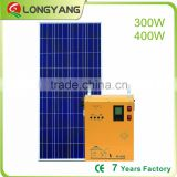 OEM brand name complete 300W 400W pure sine wave solar power system kit 70AH battery inside for home use