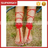 V-992 Latest Crochet Bridal Sandals Bridal Foot Jewelry Handmade Bracelet Anklet Chain