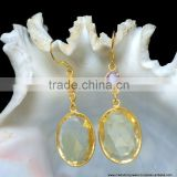 Vermeil Citrine Quartz Gemstones Sterling Silver Jewelry, Gold Plated Fashion Jewelry, Amethyst Sterling Silver Bezel Earrings