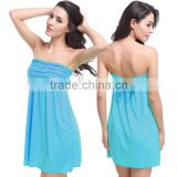 Sexy Women Bandeau Strapless Dress Bikini Cover up Beach Bathing Summer Swimsuit                                                                         Quality Choice