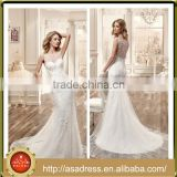 VDN02 Crystal Bead Lace Appliqued Bridal Wedding Dress 2016 Mermaid Crepe Sheer Illusion Back Luxury Wedding Decor for Weddings