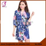 0204 Short Design Peacock Women Silk Bridal Kimono Robes                                                                         Quality Choice