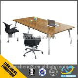 simple design wood veneer conference table with table top socket