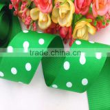 2015 China wholesale classical green printed white dot grosgrain ribbon, handmade DIY ribbon flowers/bow materials