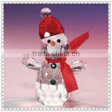 Snowman Design Crystal Glass Figurine For Christmas Gifts