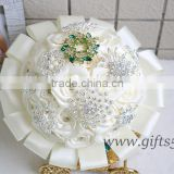 Elegant Satin Ribbon Bridal Bouquet with Lace Pearls Jewels Beads Rhinestones