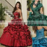 2013 free shipping claret short sleeve appliqued beaded high collar custom-made ball gown CWFab4381