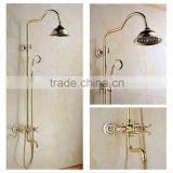 Classical gold color bath&shower faucet set for bathroom with rainfall shower head , ceramic hand shower