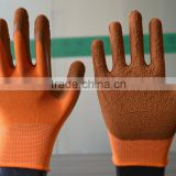 Work gloves 10 gauge polyester liner and brown latex coated palm