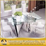fashionable glass mirror silver dining table dining room furniture