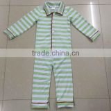 2016 High quqlity green and white stripe kids 100% cotton pajamas children's sleepwear clothing set wholesale
