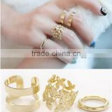 3pcs/set Vintage Punk Style Metal Ring Hollow Out Leaves Band Midi Mid Finger Knuckle Ring Set