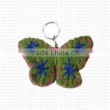 Felted butterfly shape key ring.