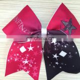 High quality customized logo practice cheer bows ribbon fabric girls hair bows