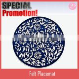 Blue color cut style Round shaped felt hot food table placemat