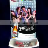 Plastic led backlit menu with led for party