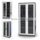 White Office Use Metal File Cabinet with Sliding Glass Door/ Glass Bookcase for Sale/ Glass Display Cabinet