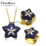 New Model Star Shape Charm Montana Blue Crystal Fashion Imitation Jewelry Set