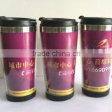 double wall inside ss outside plastic mug with glitter paper insert