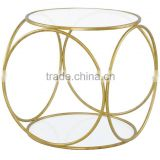 gold aluminium metal glass coffee table with cut out design , gold end table for living room