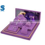 Luxury Brand Purple Suede Velvet Covered New Style Wooden Make Up Display Stand For Jewelry SHOW495