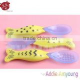 New Baby Products 2014 Fish Shaped Nutrition Feeder,Cartoon Silicon Cutlery Set,Home Decoration Baby Silicone Spoon Fork Set