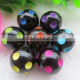2014 Halloween Mixed Colorful color polka dot acrylic resin chunky beads for jewerly making !