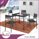 Foshan imported cheap 4 seater indoor space saving wooden black square dubai dining tables and chairs for dining room