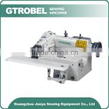Universal blind stitch sewing machine with skip stitch device and spring-loaded rib shaft for thick fabrics