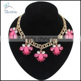 Hot new pink Resin Crystal golden coarse droplets bubble chain collar Necklace