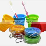 Portable and Eco friendly muti-function silicone collapsible travel cup with hook and box