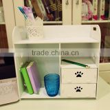 DIY Wooden Desktop Cosmetic Storage Box Office Table Stuff Organizer with 2 drawers