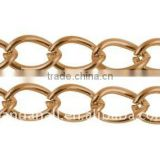Iron Side Twist Chain, Lead Free & Nickel Free, Red Copper, Chains: about 8x6x1.0mm(CH-DK1.0-R-FF)