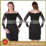 ABI-04 Elegant Off Shoulder Sequins Beaded Short Mother of the Bride Lace Dresses with Long Sleeves